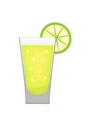 Pila de tequila con un icono de la rebanada de la cal plano, estilo de la historieta Bebida en el fondo blanco Coctel alcohólico stock de ilustración
