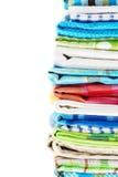 Pila de toallas de cocina de lino Fotos de archivo