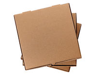 Pila de tres cajas marrones de la pizza Imagenes de archivo