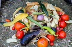 Pila de verduras descompuestas en un composter Foto de archivo libre de regalías