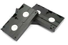 Pila de videocintas imagen de archivo