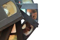 Pila de videocintas viejas del vintage foto de archivo