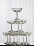 Pila de vidrios del champán Foto de archivo libre de regalías