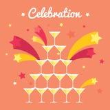 Pila de vidrios del champán Celebración con el fuego artificial Imagen plana de Fullcolored Foto de archivo