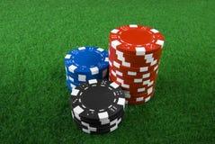 Pila de virutas de póker Foto de archivo