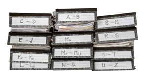 Pila degli archivi dell'ufficio Immagini Stock