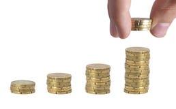 Pila dei soldi. Mostra dell'aumento fotografie stock libere da diritti