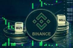 Pila del BND del cryptocurrency de la moneda de monedas y de dados La carta a comprar, venta del intercambio, se sostiene libre illustration