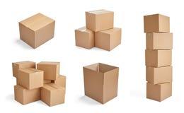 Pila del cartone del cartone di consegna del pacchetto della scatola Fotografie Stock Libere da Diritti