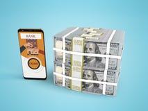Pila del concepto de dólares en crédito bancario con el smartphone 3d rendir en fondo azul con la sombra stock de ilustración