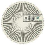 Pila del círculo de los billetes de banco del dólar Imágenes de archivo libres de regalías