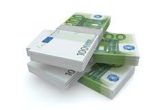 Pila del dinero de 100 euros Imagen de archivo libre de regalías