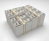 Pila del dinero de billete de banco de 100 dólares Imágenes de archivo libres de regalías