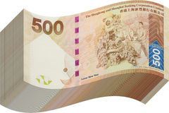 Pila del dinero de Hong-Kong quinientos Fotografía de archivo libre de regalías