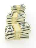 Pila del dinero en blanco Foto vertical Foto de archivo libre de regalías
