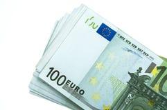 Pila del euro 100 Imagen de archivo libre de regalías