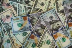 Pila del fondo del dinero billete de banco de $100 dólares Fotografía de archivo libre de regalías