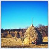 Pila del heno en campo Imagen de archivo libre de regalías