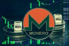Pila del monero del xmr del cryptocurrency de la moneda de monedas y de dados La carta a comprar, venta del intercambio, se sosti ilustración del vector