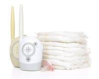 Pila del monitor de la radio del bebé del niño de soother de la entrerrosca de los pañales Fotos de archivo libres de regalías