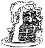 Pila del pancake della pancetta affumicata della banana Fotografia Stock Libera da Diritti