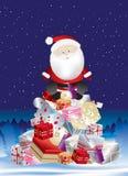 Pila del presente de Santa en la noche Imagen de archivo