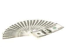 pila del ventilador de 100 billetes de dólar Foto de archivo libre de regalías