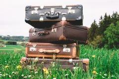 Pila del vintage de maletas Imagen de archivo