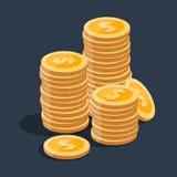Pila dell'oro di monete del dollaro Immagine Stock