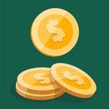 Pila dell'oro di monete del dollaro Immagine Stock Libera da Diritti