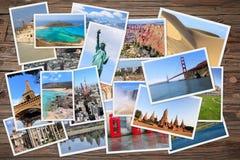 Pila della foto di viaggio intorno al mondo Fotografia Stock Libera da Diritti