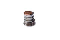 Pila della moneta isolata su priorità bassa bianca Immagine Stock Libera da Diritti