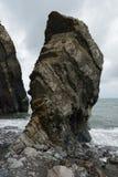 Pila della roccia alla spiaggia del mulino della bocca immagine stock libera da diritti