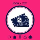 Pila delle banconote dei soldi con il simbolo del dollaro, icona Fotografia Stock
