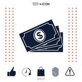 Pila delle banconote dei soldi con il simbolo del dollaro, icona Immagini Stock Libere da Diritti