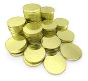 Pila delle monete del dollaro dell'oro isolata sulla diagonale bianca del primo piano Immagini Stock Libere da Diritti
