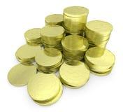 Pila delle monete del dollaro dell'oro sulla vista bianca della diagonale del primo piano Immagini Stock Libere da Diritti