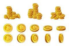 Pila delle monete di Bitcoins ed insieme dorati di animazione Illustrazione di concetto di cryptocurrency di successo di finanza Illustrazione di Stock