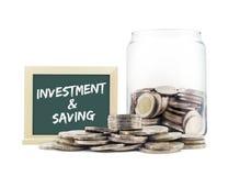 Pila delle monete di investimento & di risparmio di concetto Immagini Stock Libere da Diritti