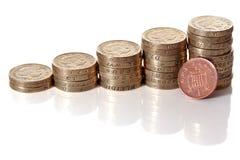 Pila delle monete di sterlina britannica Fotografie Stock Libere da Diritti