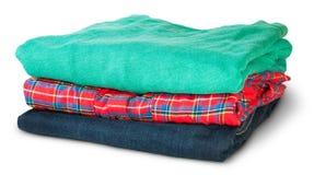 Pila di abbigliamento casual multicolore rotante Fotografia Stock