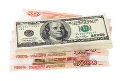 Pila di banconote in dollari Fotografie Stock Libere da Diritti