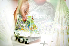 Pila di banconote polacche a disposizione Fotografia Stock