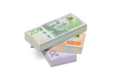 Pila di banconote svedesi Fotografia Stock Libera da Diritti