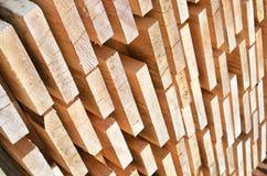 Pila di barre di legno Fotografia Stock