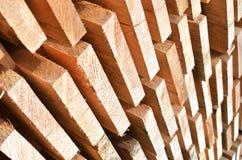 Pila di barre di legno Fotografie Stock