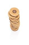 Pila di biscotti con il materiale da otturazione visto da sopra Fotografie Stock Libere da Diritti