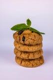 Pila di biscotti con l'uva passa Immagine Stock Libera da Diritti
