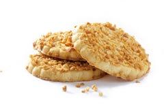 Pila di biscotti con le briciole della noce Fotografie Stock