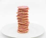 Pila di biscotti rosa della glassa Fotografie Stock